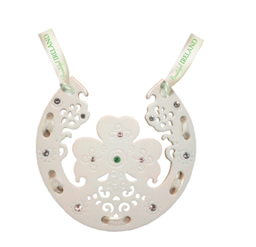 Shamrock and Horseshoe Emerald Porcelain Decoration