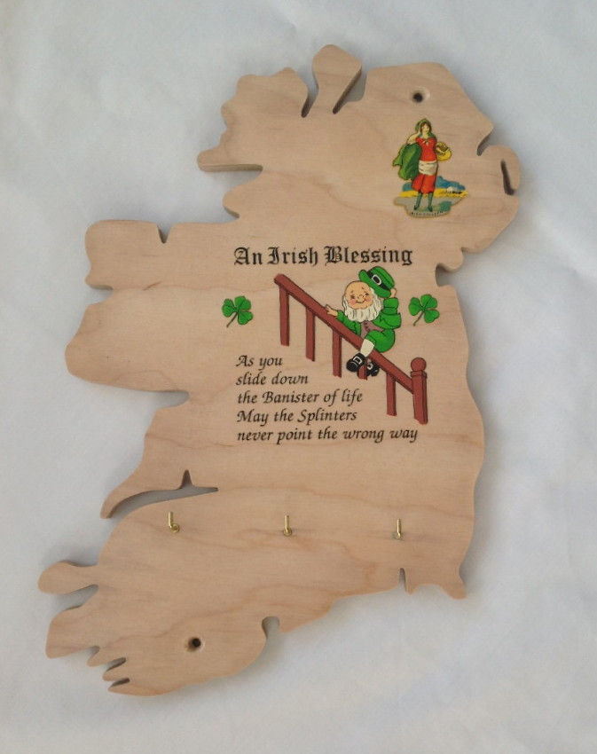 Ireland Map Wooden Key Holder