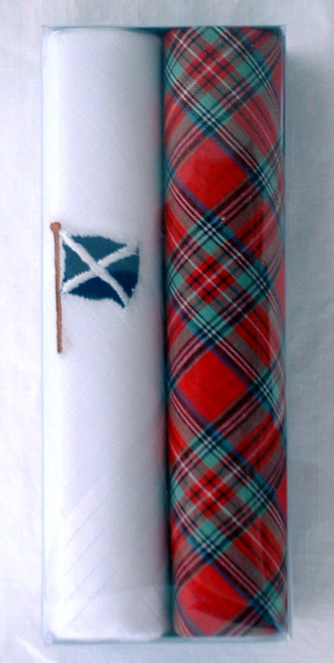 Box of 2 Mens Tartan Handkerchiefs