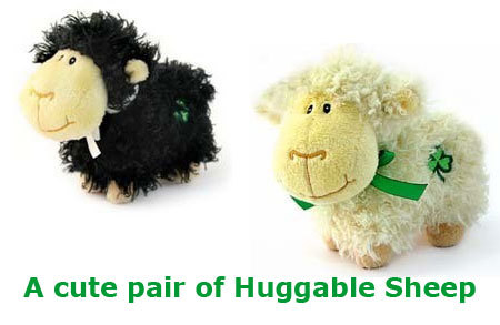 One Pair of Black and Cream Huggable Sheep