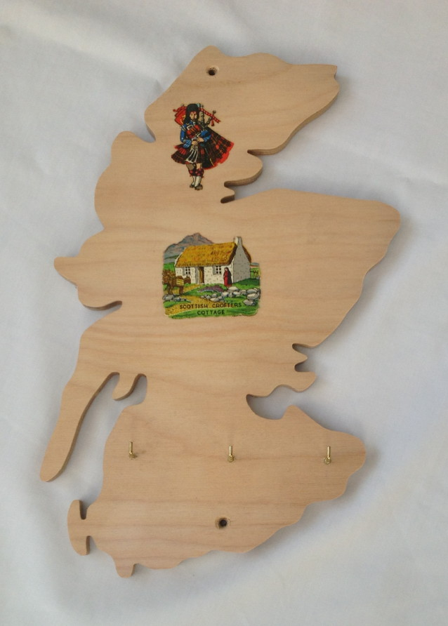 Scotland Map Wooden Key Holder