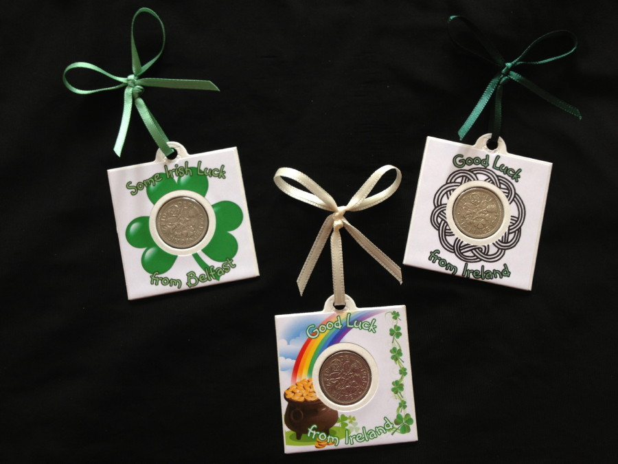Good Luck From Belfast & Ireland - Set of 3 Sixpence Cards