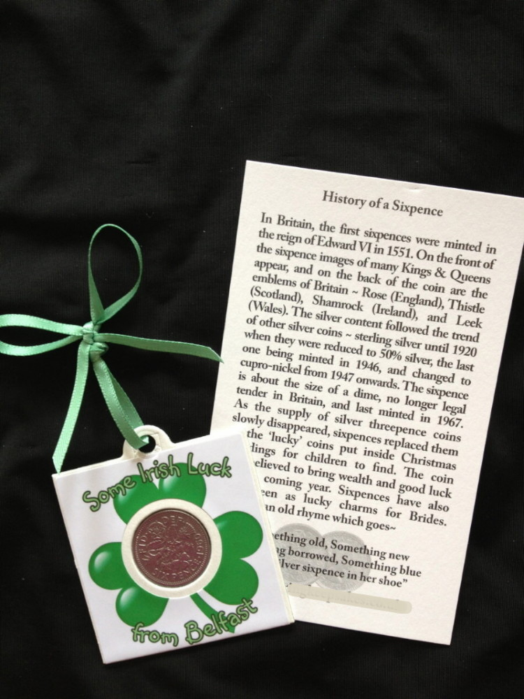Some Irish Luck From Belfast Sixpence Card