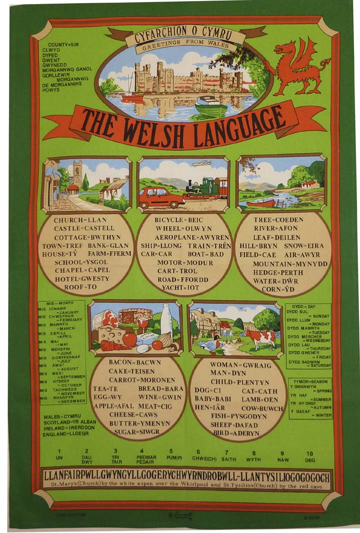 Welsh Language Cotton Tea Towel