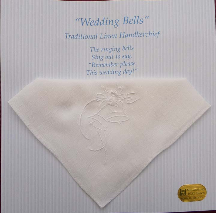 """ Wedding Bells "" Linen Handkerchief"
